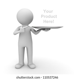 3d man showing your product on tray and pointing finger at it over white background