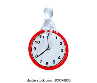 A 3d man sitting on a clock time piece