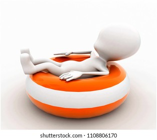 3d man sitting on throwable flotation concept in white isolated background , side angle view