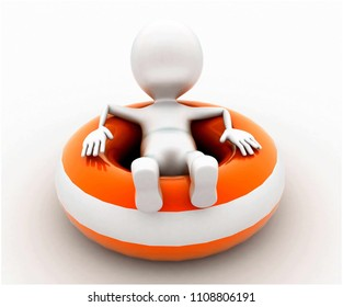 3d man sitting on throwable flotation concept in white isolated background , front angle view