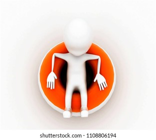 3d man sitting on throwable flotation concept in white isolated background , top angle view