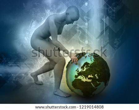 de671fd4d98e 3 D Man Sitting On Top Globe Stock Illustration 1219014808 ...