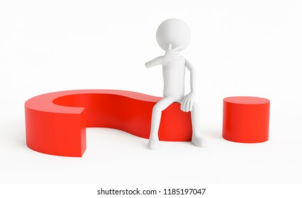 3D man sitting in a question mark on a white background. Concept of think a question or an answer. 3D Rendering.