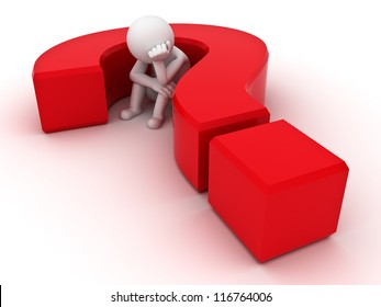 3d man sitting in red question mark over white background