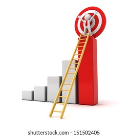 3d man standing with arms wide open on top of growth business red bar graph with wood ladder isolated over white background, business concept