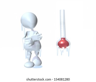 3d man standing next to freezing thermometer