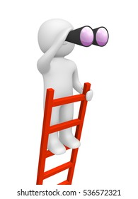 3d man standing on the top of ladder and looking through binoculars. 3d render.