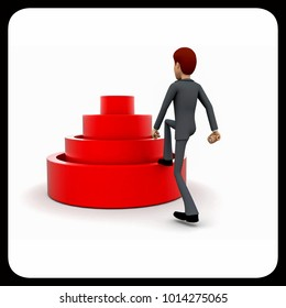3d man stepping into elavated target step concept in white isolated background 3d - rendering , back angle view