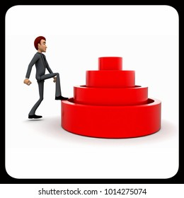 3d man stepping into elavated target step concept in white isolated background 3d - rendering , side angle view