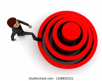 3d man stepping into elavated target step concept in white isolated background 3d - rendering , top angle view