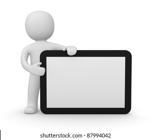 3d man with tablet PC