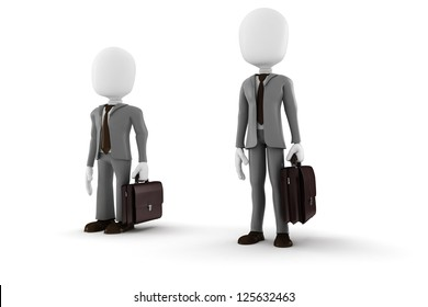 3d man tall and short businessman