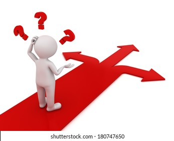 3d man thinking and confusing with three red arrows showing three different directions wondering which way to go over white background