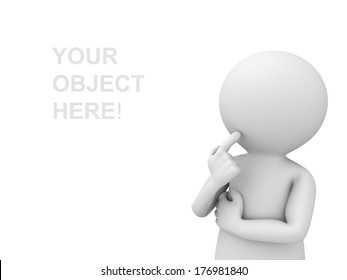 3d man thinking and looking at empty space over white background