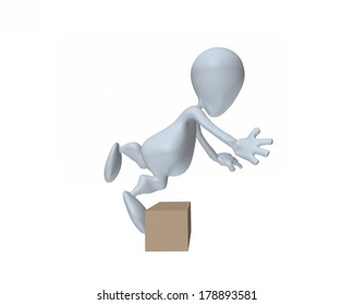 3d man tripping over box