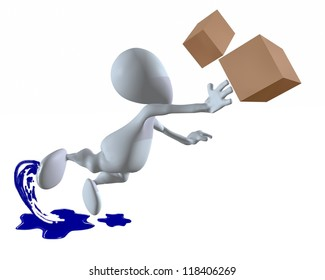 3d man tripping while carrying boxes