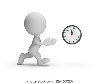 3d man trying to catch up with time. 3d image. White background.