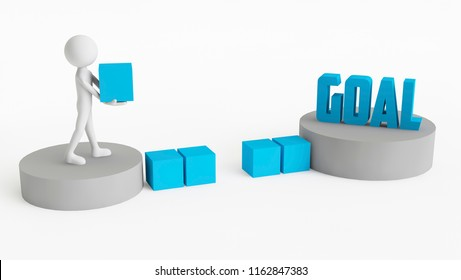 3D man trying to cross to get to his Goal. Concept of businessman goal. 3D Rendering.