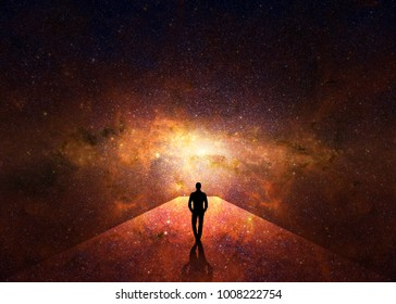 3d. Man walking through the universe