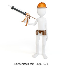 3d man worker with caulk gun isolated on white
