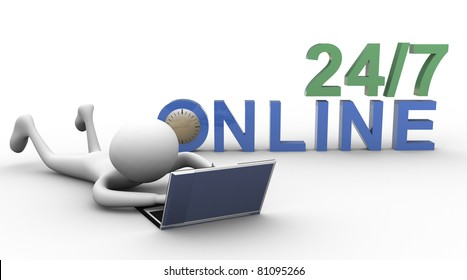 3d man working online on laptop