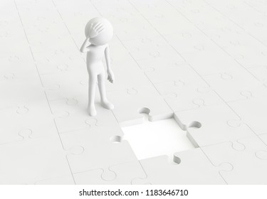 3D man worrying the missing piece of the jigsaw puzzle. Concept of business key idea. 3D Rendering.