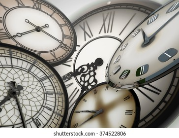 3d Many clocks floating in abstract space moving forward in time, on bright glowing white background with depth of field, lens distortion and motion blur.