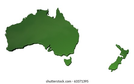 3D map of Australasia on white background