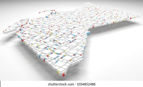 3D Map of British Columbia - Canada | 3d Rendering, mosaic of little bricks - White and flag colors