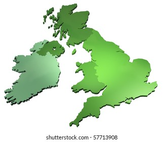 3D map of British isles isolated on white background