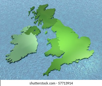 3D map of British isles on the sea