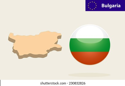 3D Map of Bulgaria. Bulgaria Flag Glossy Button