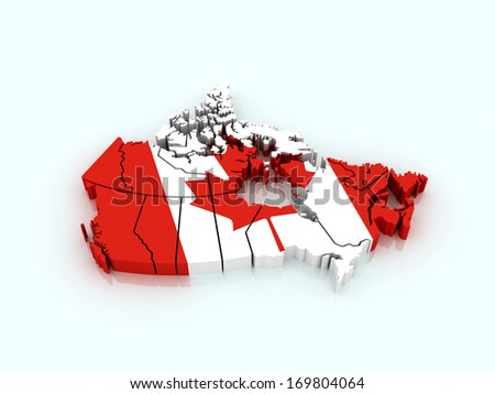 3 D Map Canada Flag Provinces Stock Illustration 169804064 ...