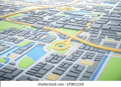 3D Map of City with navigator pin locator. Navigation, location route, travel and tourism planning concept. 3D illustration.