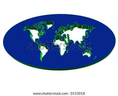 3 d map continent computer generation stock illustration 3533018