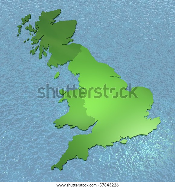 3d Map Of England.3d Map England Scotland Wales On Stock Illustration 57843226