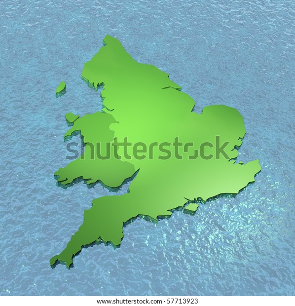 3d Map Of England.3d Map England Wales On Sea Stock Illustration 57713923