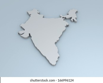 3D map of India on a simple background with high-resolution