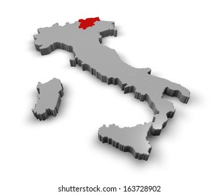 3d Map of Italy Regions Trentino Alto Adige
