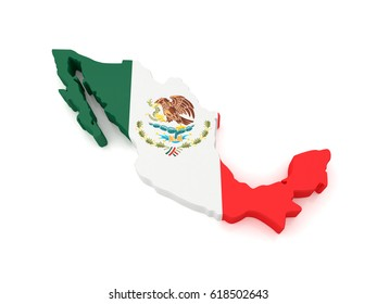 3D Map of Mexico. 3D Rendering
