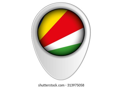 A 3D Map Pointer Flag Illustration of the country of  Seychelles