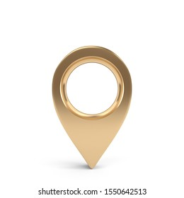 3D Map Pointer, Location Map Icon, Gold Texture, 3D Rendering.