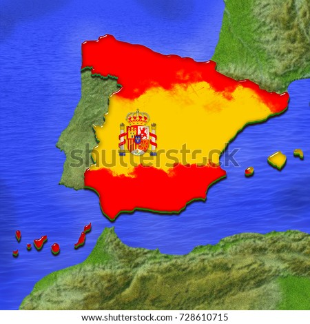Map Of Spain Coast.3 D Map Spain Painted Colors Spanish Stock Illustration Royalty