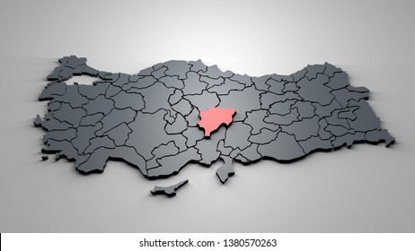 3D Map of Turkey Cities Kayseri City Map