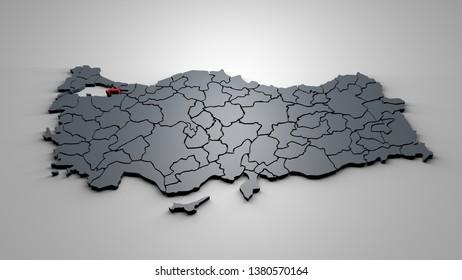 3D Map of Turkey Cities Yalova City Map