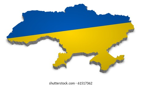 3D map of ukraine with flag