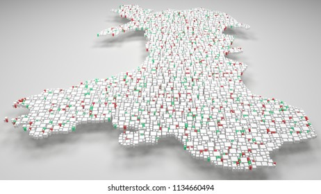 3D Map of Wales - UK | 3d Rendering, mosaic of little bricks - White and flag colors. A number of 4622 little boxes are accurately inserted into the mosaic