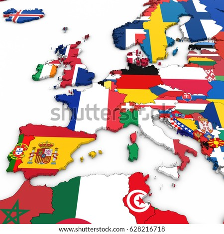 3 D Map Western Europe National Flags Stock Illustration 628216718 ...