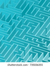 3d maze viewed from above in Cyan from the Material Design palette