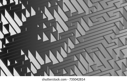 3d maze viewed from above in gray scale